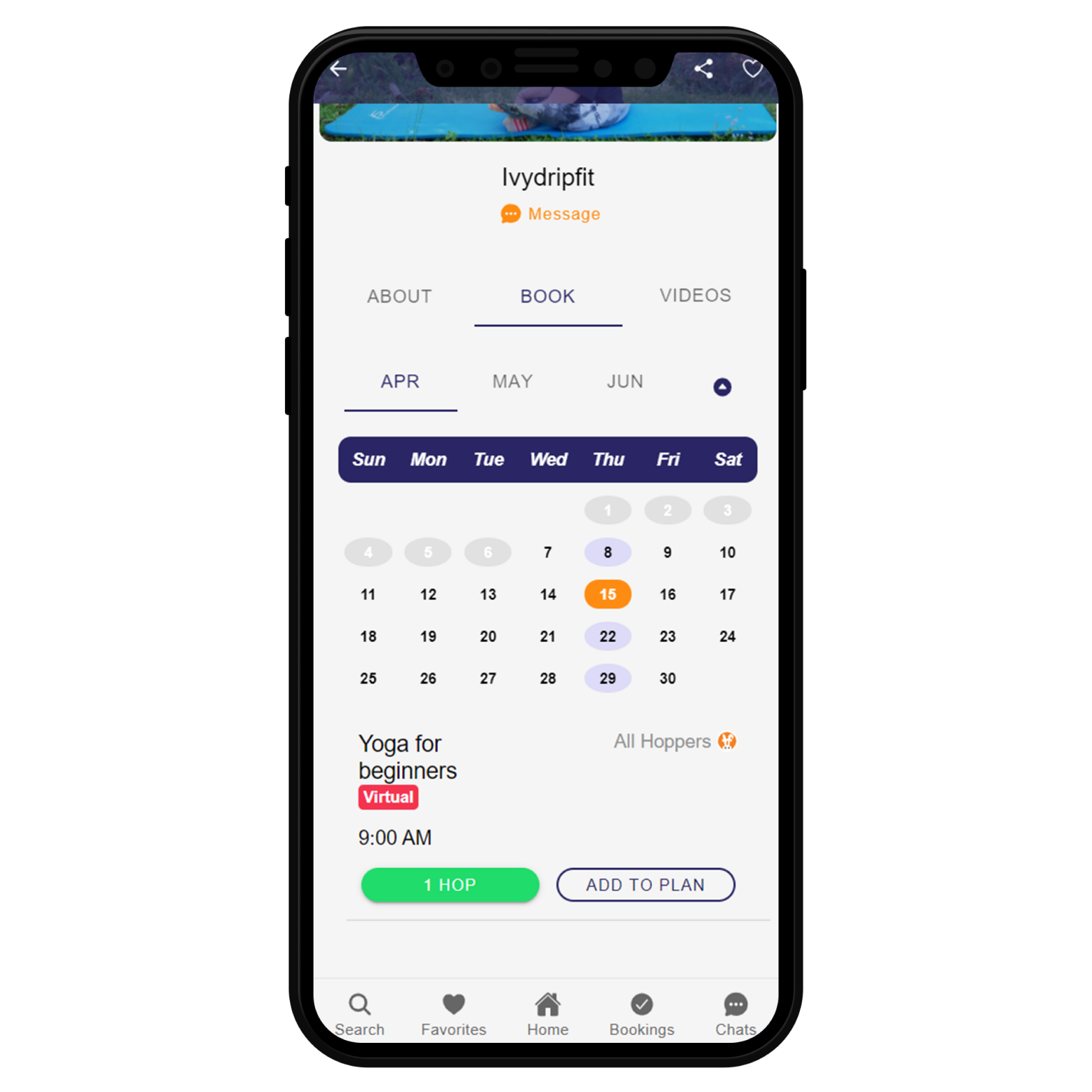 Image of HopperFit booking manager. This is where users go to book a fitness service.